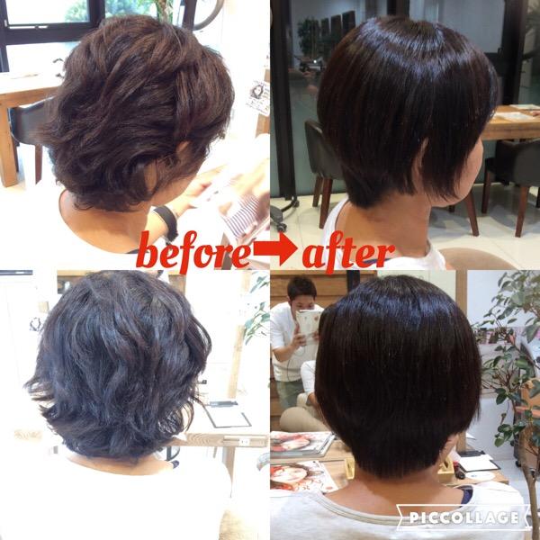 くせ毛のショートヘアの縮毛矯正