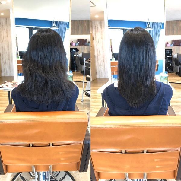 黒髪ロングの縮毛矯正