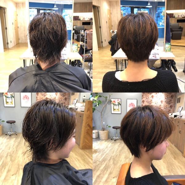 くせ毛のショートカットの実例