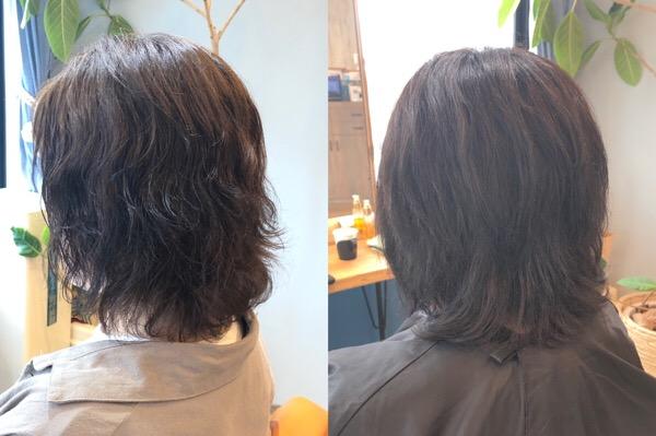 パーマと白髪染めでパサパサになった髪の髪質改善ビフォーアフター